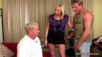 Blonde Slut Makes A Guy Give A Blowjob
