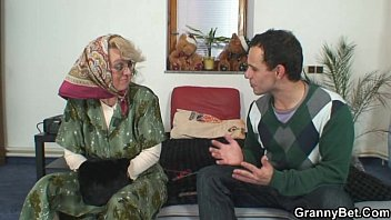 Lonely old granny pleasing an young stud