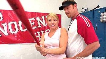 Horny blonde Maya Hills seduces her her coach in the locker room