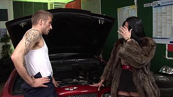 Hot Rich Big Tits Wife Cheats hubby with MILF mom BFF at the car garage