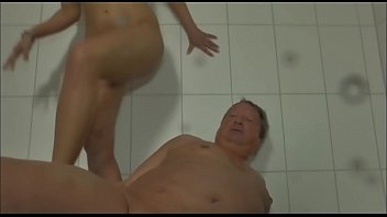 Beautiful blonde with big boobs and fat pervert man
