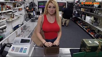 Big tits blonde babe screwed by pawn guy