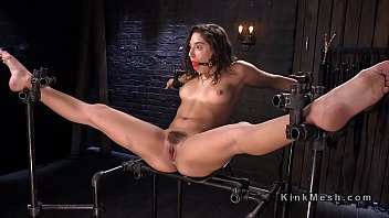 Girl tied legs spead for fucking Bound brunette endurs pain from huge dildo
