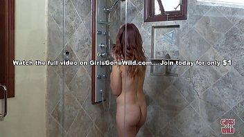 GIRLS GONE WILD - Shy Redhead And A Shower Head
