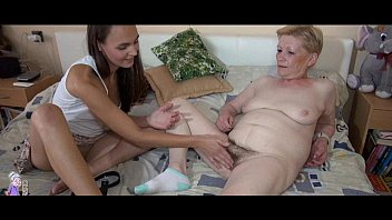 Old mature and young woman striptease and toy playing
