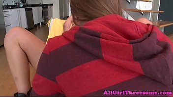 Strapon loving lesbian drilled in threesome