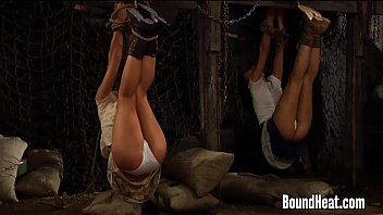 Tied-up lesbians - Lesbian huntress playing with tied up slave