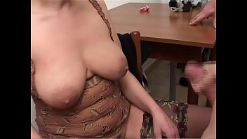 Granny tit porn - Old whore licks two cocks and gets cum on her tits