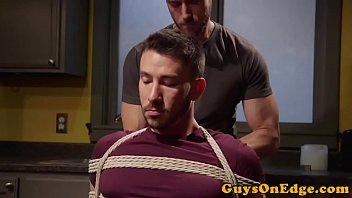 Cumcontrolled bound gay gets a handjob by dom
