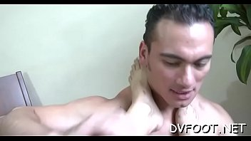 Sexy interracial foot fetish with fleshly foot licking