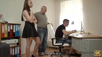 DADDY4K. Son repairs PC of his dad while he fucks his girlfriend