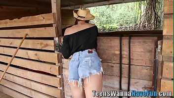 Real busty teen lesbian cowgirl rides face