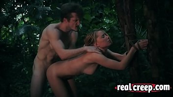 Blonde slim babe lost in the forest dragged by horny sex maniac