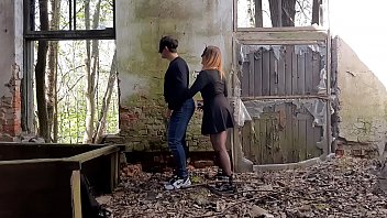 His cum is a great lube for my strapon! Pegging in an abandoned building