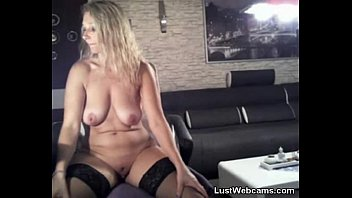 Blonde MILF dildoing her ass on cam