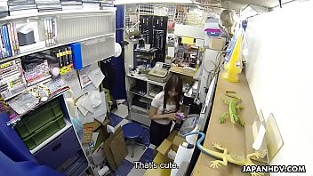 Japanese teen brunette, Mikuni Maisaki is masturbating at work, uncensored Thumb