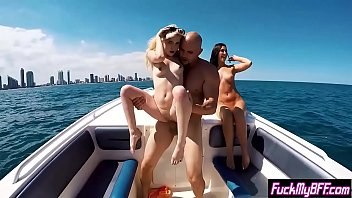 Party at the boat finished with a outdoor threesome sex