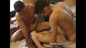 Steamy bisexual kitchen threesome