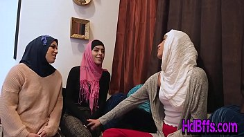Muslim teen sluts sucking and riding cock in head scarfs at party