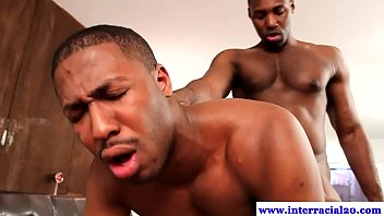 Muscled ebony gay hunks ass fucks dude