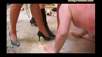 3 Young Femdom Girls in Action - Domination from a old fat guy