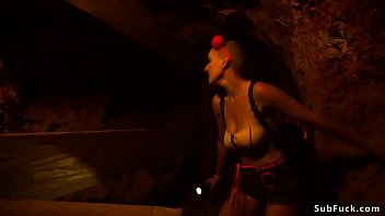 Busty babe gangbanged at miners cabin