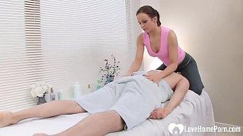 Cute masseuse gets his big hard meat pole
