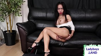 Busty sexy ladyboy jerks off solo