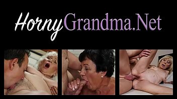 Chubby grandmother blows