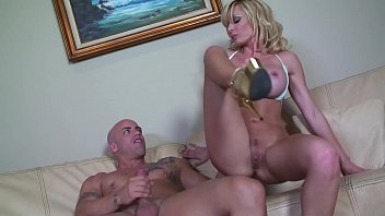 Hot Blonde Single Mom MILF tries to get a better deal from the Carpenter ended up with a huge cumshot facial