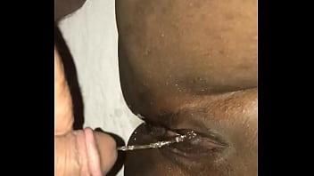 Pissing on ebony's pussy