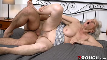 Horny granny Norma B fucked hard after sucking young cock