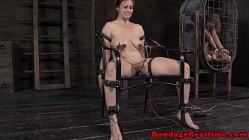 Electric shock collar bdsm Restrained sub gets nipples zapped