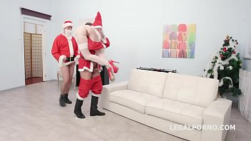 XMAS first time Lana Bunny first time DP with Balls Deep Anal, Gapes and Swallow GL100