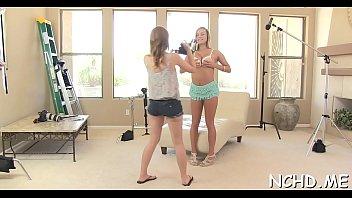 Teen sluts turn the casting into a crazy gang gang bang party