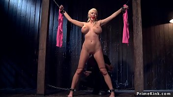 Huge tits slave is made ride Sybian