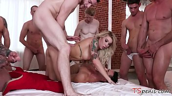 TS Aubrey Kate gangbanged by many guys