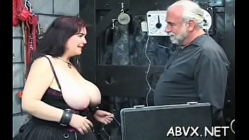 Sexy scenes of rough bondage on breasty babe's pussy