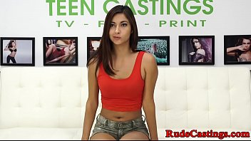 Petite roughfucked doggystyle during casting