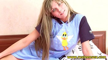 Beautiful blonde teen gil pleases herself