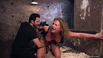 Natural blonde slave rough bdsm banged