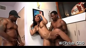 Sexual bitch feels chocolate shlong entering her tight anal