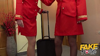 Fake Hostel Flight Attendants in pantyhose surprise young guest thumbnail