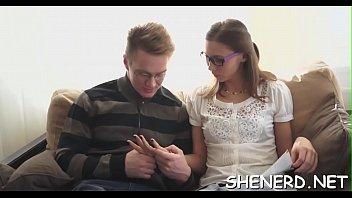 Seducing legal age teenager in glasses