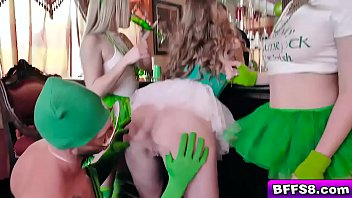 Guy cuts dick Dude in greenman suit licks the teens twats as they spread their legs