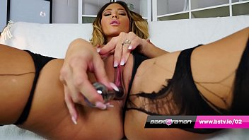 Babestation's Natalia Forrest solo fuck in ripped nylons & heels