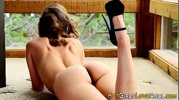 Teenager in stockings eats