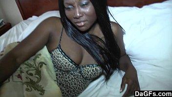Ebony babe frigs her black pussy to a creamy cum