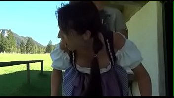 Awesome CF Big Ass Blonde Teen in Pigtails Fucked Behind By the Farmer at the Parent's Farm