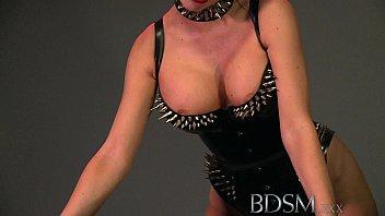 BDSM XXX Slave boy licks Mistresses spit from the cage floor